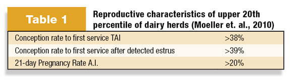Reproductive characteristics of upper 20th percentile of dairy herds